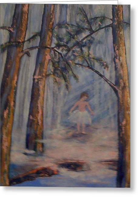 Ballet Dancers Greeting Cards - The World Is Her Stage Greeting Card by Kathy Peltomaa Lewis
