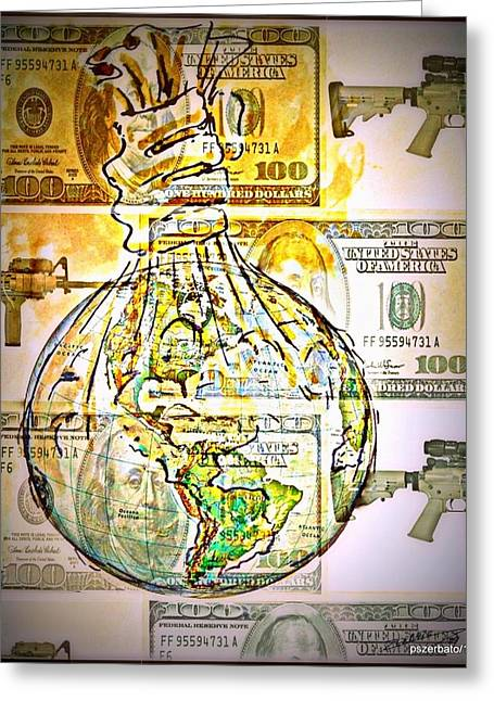Sell Your Soul Greeting Cards - The World Is Money Greeting Card by Paulo Zerbato
