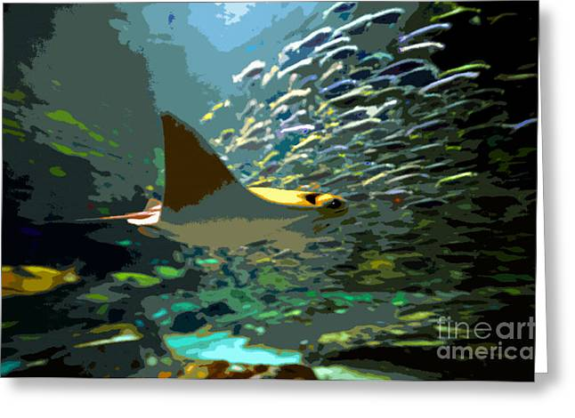 Sea Life Digital Art Greeting Cards - The world of the ray Greeting Card by David Lee Thompson