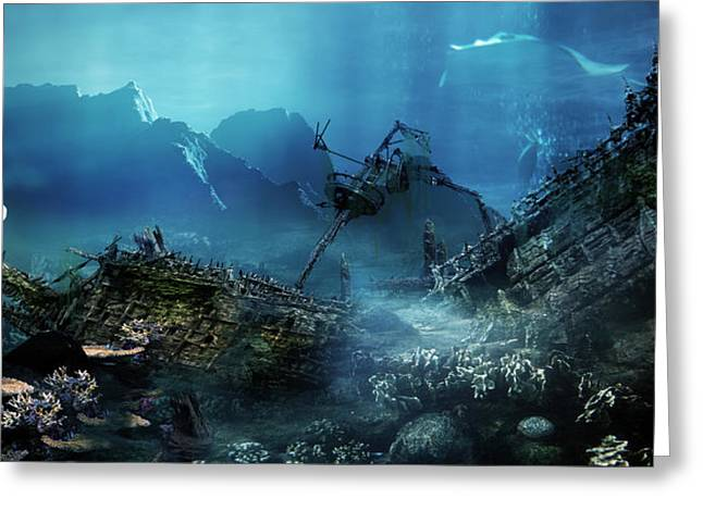 Shark Digital Art Greeting Cards - The Wreck Greeting Card by Karen H