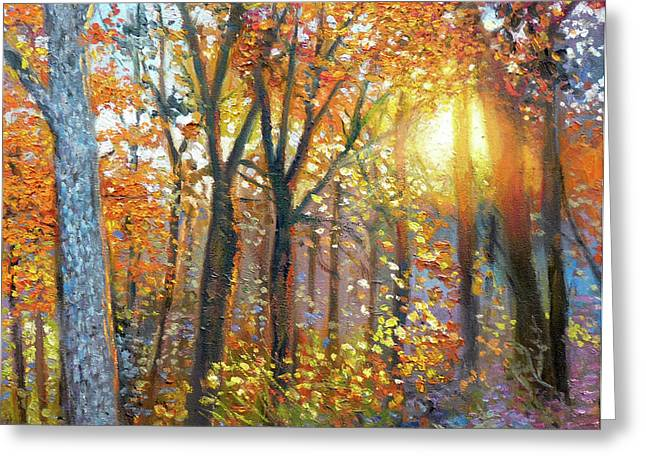 Gregg Hinlicky Greeting Cards - The Yard  Autumn Greeting Card by Gregg Hinlicky