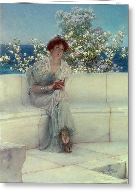 Sandals Greeting Cards - The Years at the Spring -  Alls Right with the World Greeting Card by Sir Lawrence Alma-Tadema