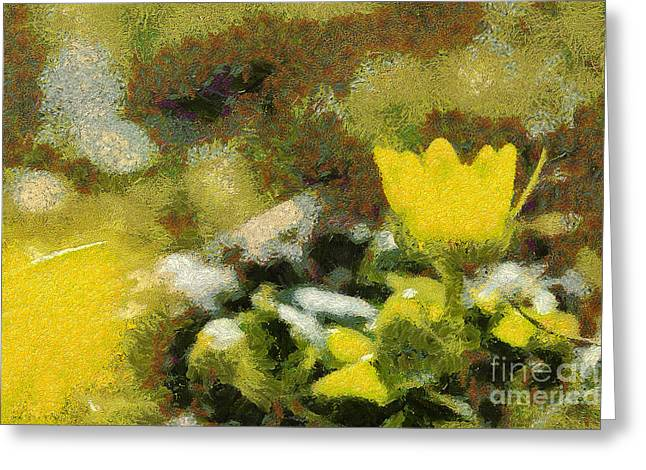 Best Sellers -  - Gold Lame Greeting Cards - The yellow flower Greeting Card by Odon Czintos