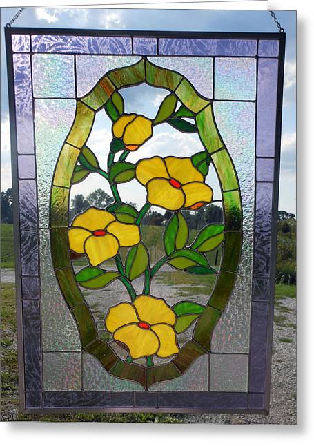 Carl Correll Glass Art Greeting Cards - The Yellow Roses Stained Glass Panel Greeting Card by Arlene  Wright-Correll