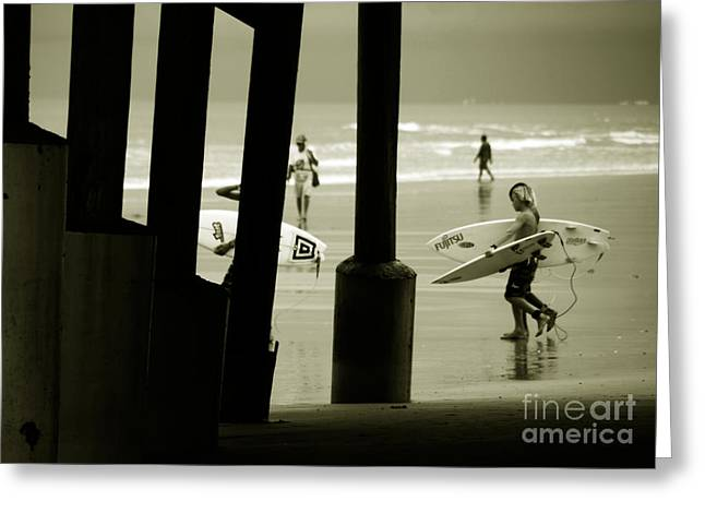 Surfing Board Greeting Cards - The Young Beach Boys Greeting Card by Susanne Van Hulst