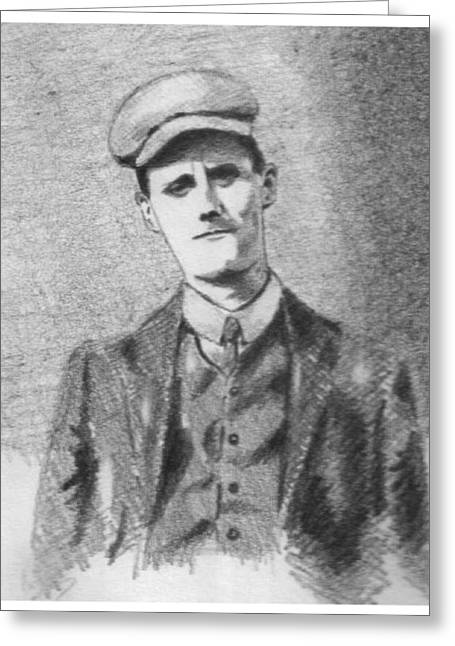 Pencil Portrait Greeting Cards - The Young James Joyce Greeting Card by John  Nolan
