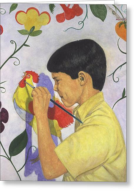 Boy Pastels Greeting Cards - The Young Painter Greeting Card by Robert Casilla