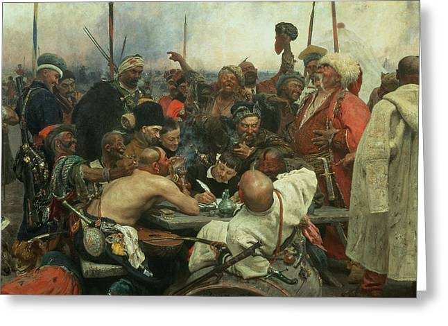 Gathering Greeting Cards - The Zaporozhye Cossacks writing a letter to the Turkish Sultan Greeting Card by Ilya Efimovich Repin