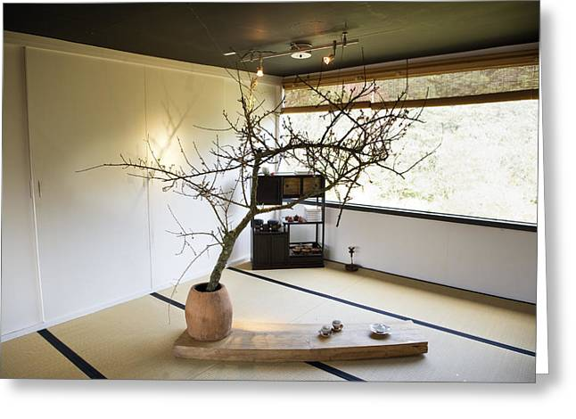 Art Of Building Greeting Cards - The Zen-like Interior Of A Tea House Greeting Card by Justin Guariglia