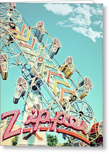 Zipper Greeting Cards - The Zipper Carnival Ride Greeting Card by Eye Shutter To Think