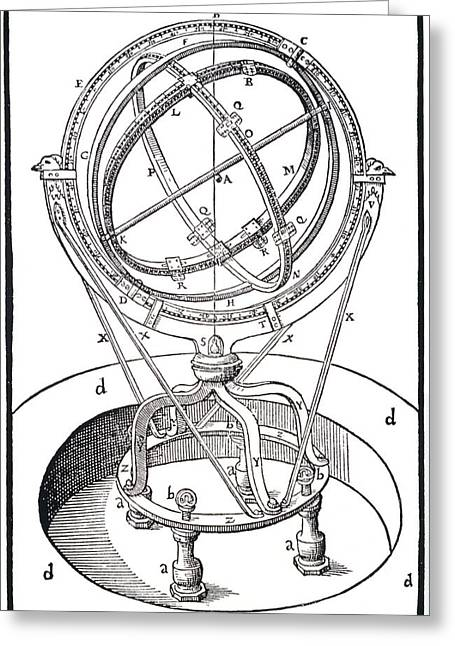 Armillary Greeting Cards - The Zodiacal Armillary Instrument Greeting Card by Dr Jeremy Burgess