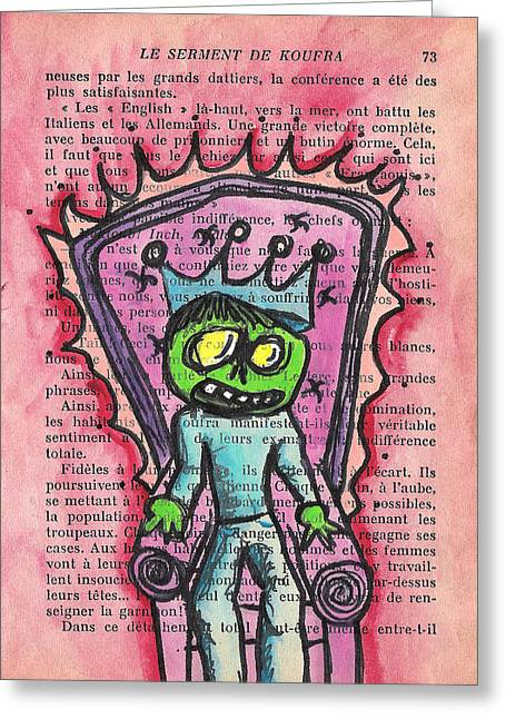 Macbre Greeting Cards - The Zombie Lizard King Greeting Card by Jera Sky