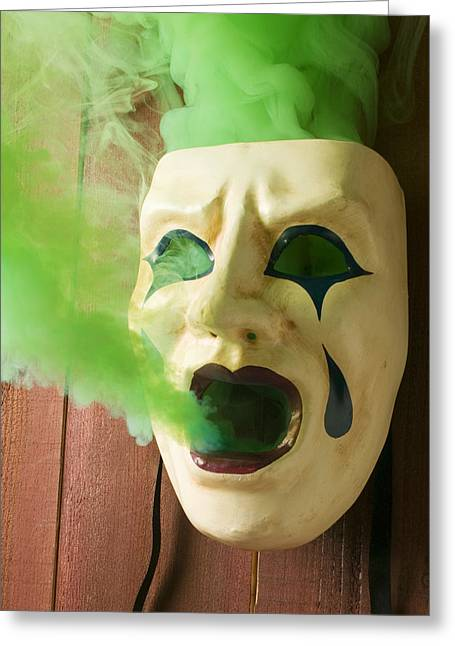 Tears Greeting Cards - Theater mask spewing green smoke Greeting Card by Garry Gay