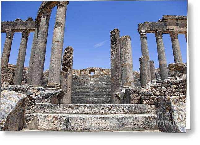 African Heritage Greeting Cards - Theatre of Dougga I Greeting Card by Irene Abdou
