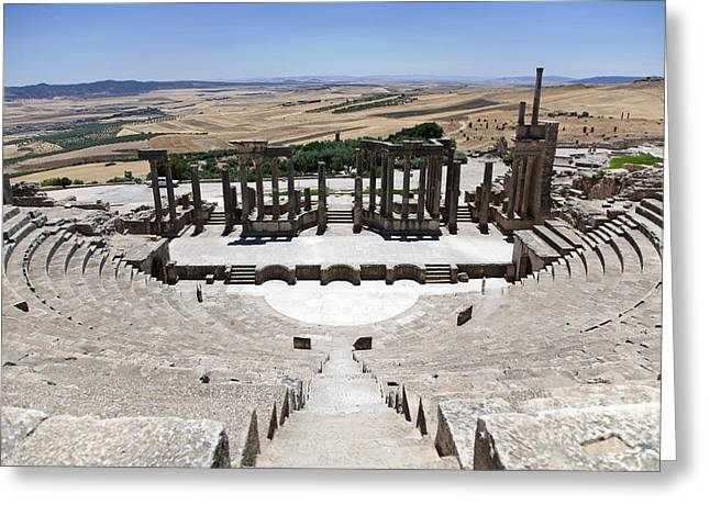 African Heritage Greeting Cards - Theatre of Dougga II Greeting Card by Irene Abdou