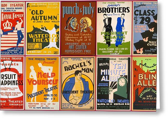 1940s Poster Art Greeting Cards - Theatre Posters of the 1930s and 1940s Greeting Card by Don Struke
