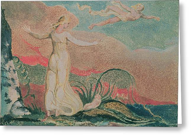 Relief Print Paintings Greeting Cards - Thel in the Vale of Har Greeting Card by William Blake