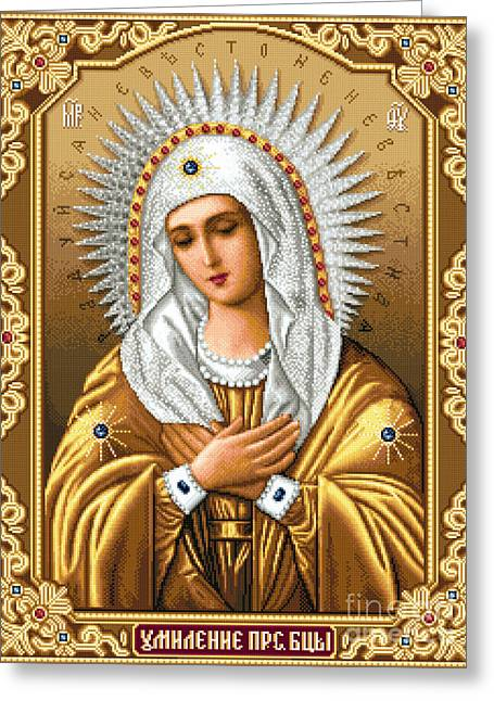 Cross Tapestries - Textiles Greeting Cards - Theotokos of Tenderness Seraphimo-Diveevska Greeting Card by Stoyanka Ivanova
