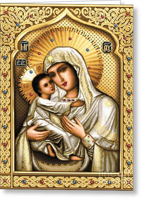 Cross Tapestries - Textiles Greeting Cards - Theotokos of Tenderness Greeting Card by Stoyanka Ivanova