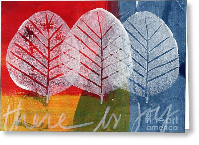 Red Leaves Mixed Media Greeting Cards - There Is Joy Greeting Card by Linda Woods