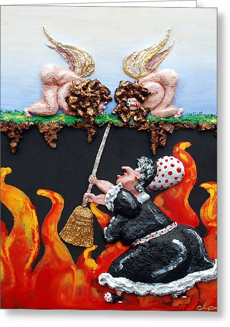 Fire Reliefs Greeting Cards - There Will Be Hell To Pay Greeting Card by Alison  Galvan