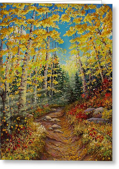 Hiking Greeting Cards - Theres  a Light Beyond These Woods Greeting Card by Mary Giacomini