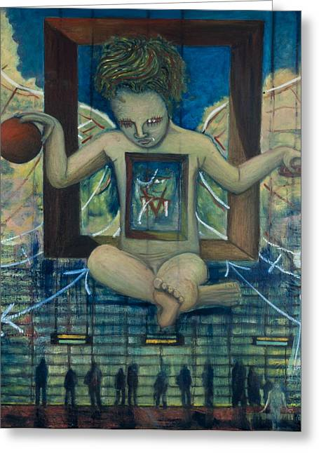 Horus Greeting Cards - Therion The Beast The Appearance of Dali s Anti-Christ Child Greeting Card by Jonathan E Raddatz