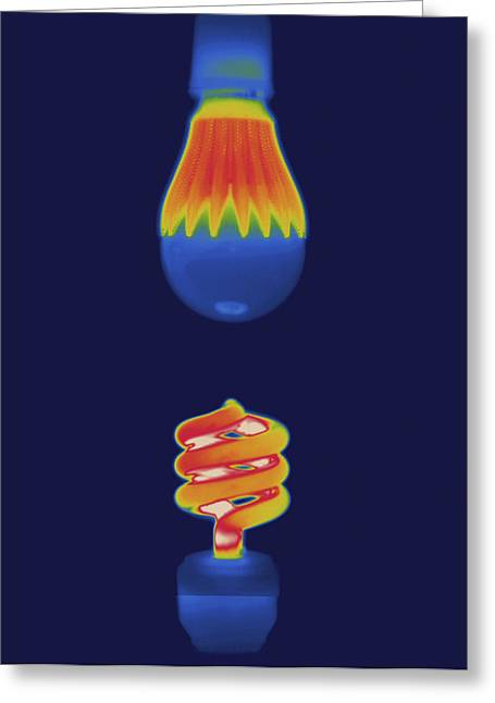 Florescent Lighting Greeting Cards - Thermal Image Comparing Energy Greeting Card by Tyrone Turner
