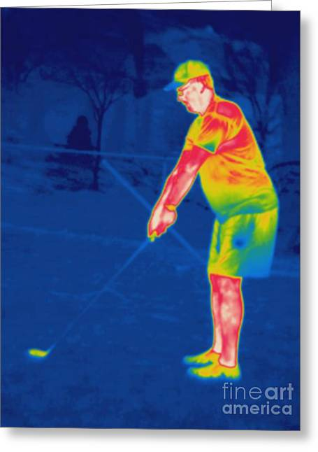 Thermogram Greeting Cards - Thermogram Of A Golfer Greeting Card by Ted Kinsman