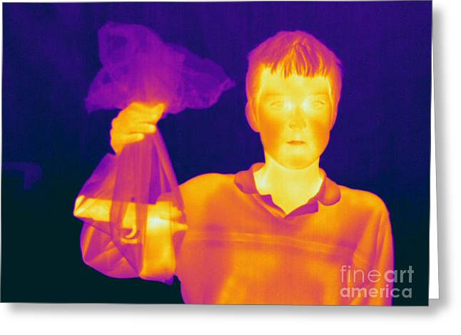 Hot Gun Greeting Cards - Thermogram Of A Hidden Gun Greeting Card by Ted Kinsman