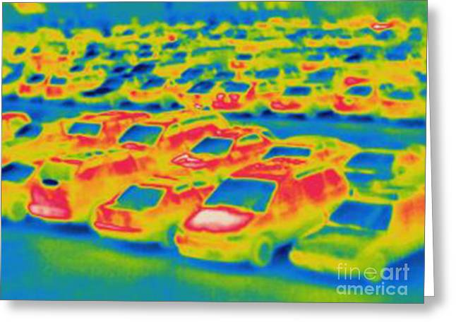 Thermogram Greeting Cards - Thermogram Of A Parking Lot Greeting Card by Ted Kinsman
