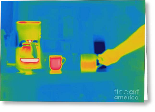 Thermogram Greeting Cards - Thermogram Of Coffee In Cups Greeting Card by Ted Kinsman