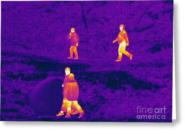 Electromagnetic Spectrum Greeting Cards - Thermogram Of People Walking Greeting Card by Ted Kinsman