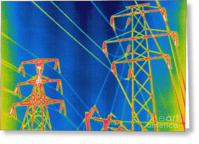 Electrical Resistance Greeting Cards - Thermogram Of Power Lines Greeting Card by Ted Kinsman