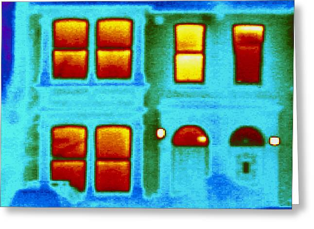 Thermograph Greeting Cards - Thermogram Showing Heat Loss From A House Greeting Card by Dr. Arthur Tucker