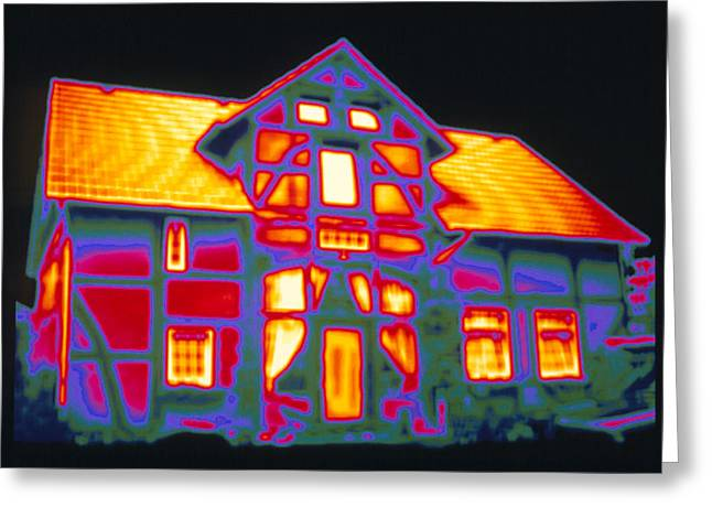 Thermography Greeting Cards - Thermogram Showing Heat Loss From A House Greeting Card by Pasieka