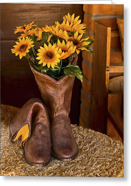 Cow Boy Greeting Cards - These Boots Were Made For Greeting Card by Gordon Engebretson