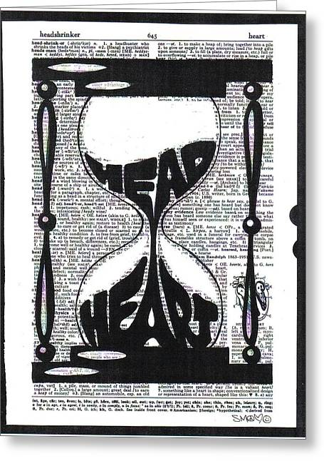Dictionary Greeting Cards - These Things Take Time Head Heart Hourglass Greeting Card by Kato Smock