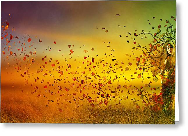 Hues Greeting Cards - They call me Fall Greeting Card by Karen H