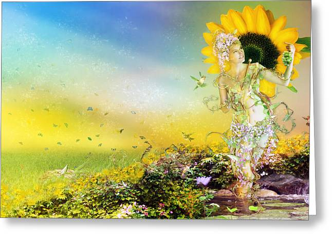 Yellow Sunflower Greeting Cards - They call me Summer Greeting Card by Karen H