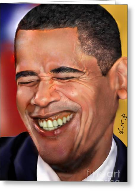 African-american Paintings Greeting Cards - They called me Mr. President 1 Greeting Card by Reggie Duffie