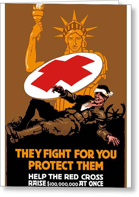 Historic Statue Greeting Cards - They Fight For You Protect Them Greeting Card by War Is Hell Store