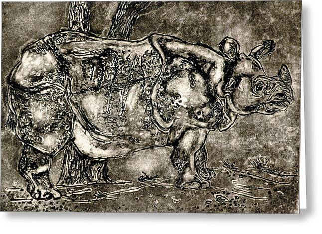 Rhinoceros Paintings Greeting Cards - They Say Im Too Emotional Greeting Card by Leslie Weddell