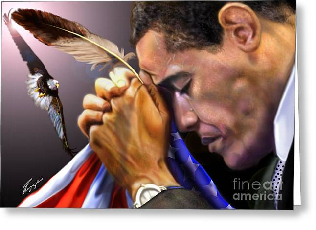 Super Stars Paintings Greeting Cards - They Shall Mount Up with Wings Like Eagles -  President Obama  Greeting Card by Reggie Duffie