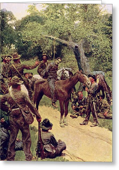 Prisoner Paintings Greeting Cards - They Talked It Over With Me Sitting on the Horse Greeting Card by Howard Pyle
