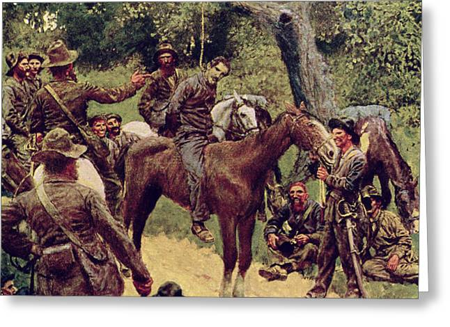 They Talked It Over With Me Sitting on the Horse Greeting Card by Howard Pyle