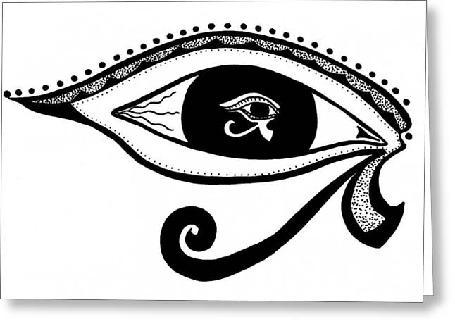 Horus Drawings Greeting Cards - TheyeSelf Greeting Card by K H Miller