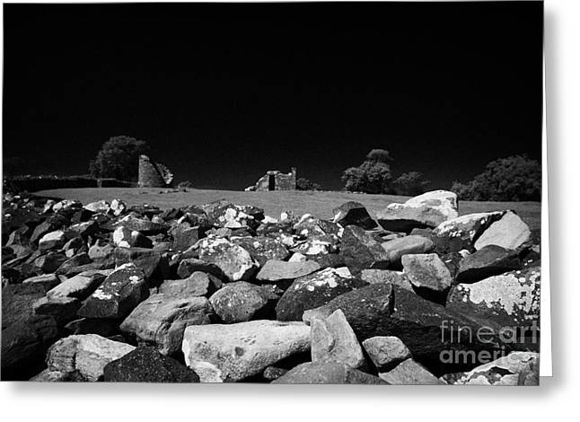 Thick Exterior Wall Around The Remains Of The 6th Century Monastic Site At Nendrum On Mahee Island Greeting Card by Joe Fox