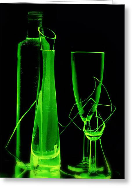 Wine-bottle Glass Greeting Cards - Green wine glasses and a bottle Greeting Card by   larisa Fedotova