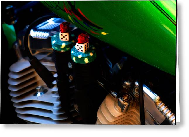 Motorcycle Engines Greeting Cards - Things that gamble  Greeting Card by Steven  Digman